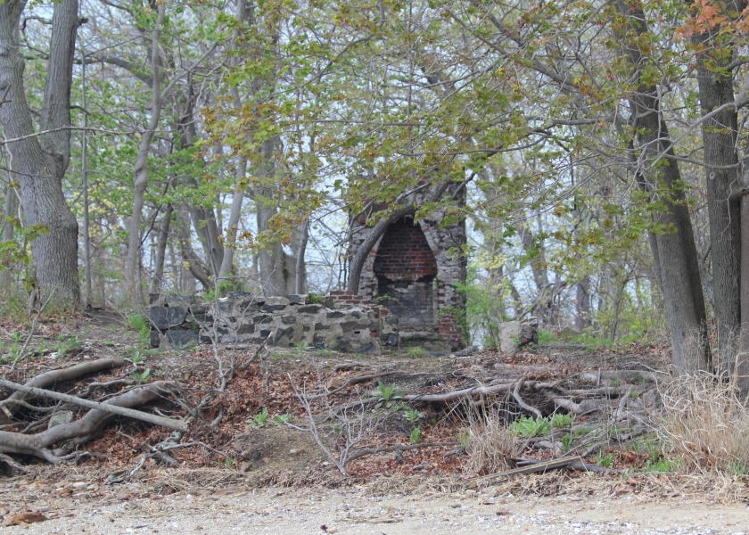 "Ruined Estate on Marshlands Conservancy. It was destroyed in the ""Long Island Express"" hurricane on 1938. All that remains is a stove and a cellar."