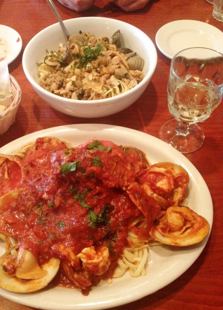 Lobster Fra Diavolo and Linguine with Clam Sauce.  The birders Powerbar.
