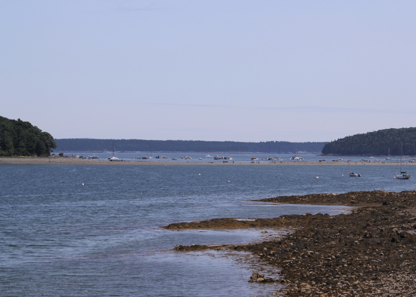 The famous sandbar at Bar Harbor