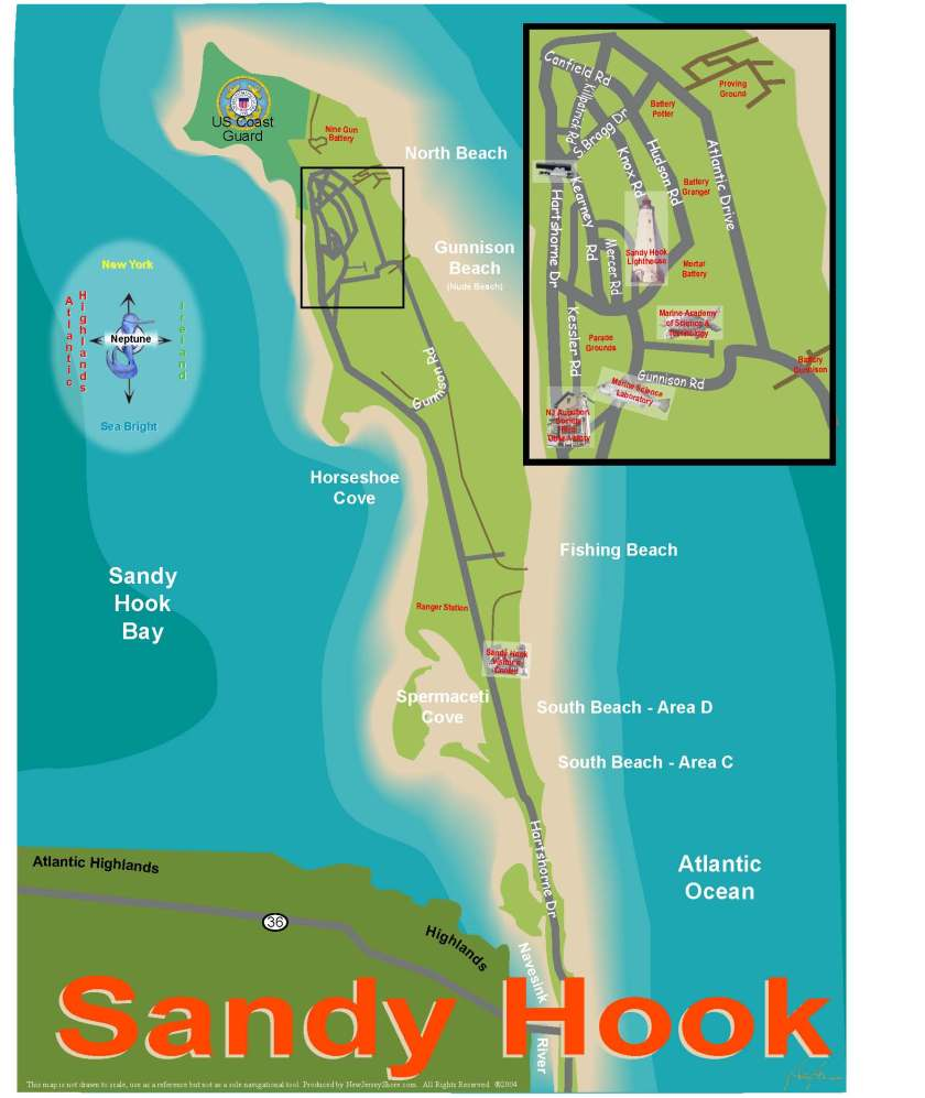 Map of Sandy Hook, New Jersey