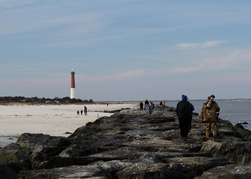 The jetty and Barnegate Lighthouse